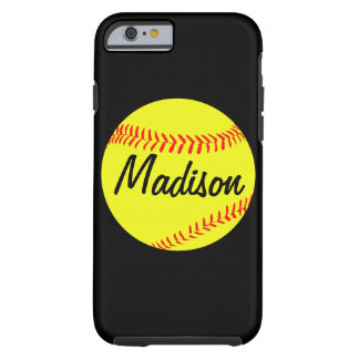 Black Custom Softball Phone Case