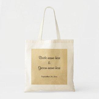 Black Custom Text on Beige Abstract Wedding Tote Bag