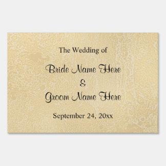 Black Custom Text on Beige Abstract Wedding Yard Sign