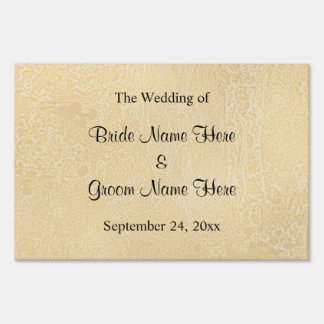 Black Custom Text on Beige Abstract Wedding Lawn Signs