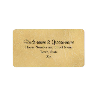 Black Custom Text on Tan Color Abstract, Wedding Label