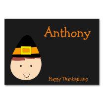 Black Custom Thanksgiving Table Cards Pilgrim