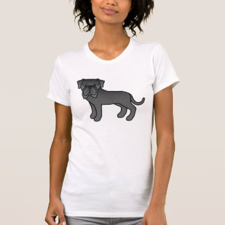 Black Cute Cartoon Neapolitan Mastiff Dog T-Shirt