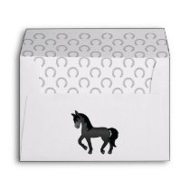Black Cute Cartoon Trotting Horse Illustration Envelope