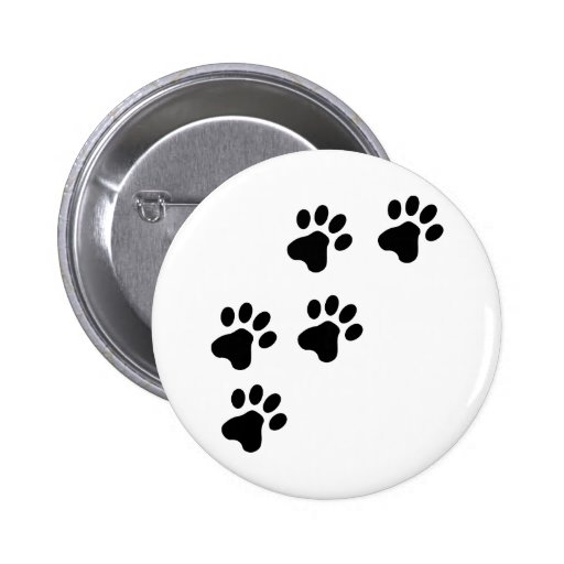 black cute dog paws doggy pinback button