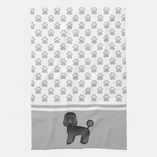 Black Cute Toy Poodle Dog And Grey Paws Pattern Hand Towel