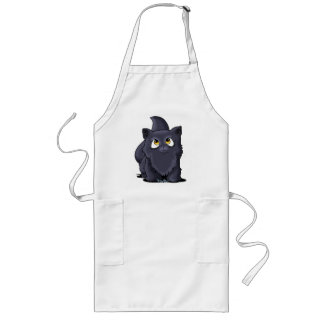 Black Cutie Face Kitten Long Apron
