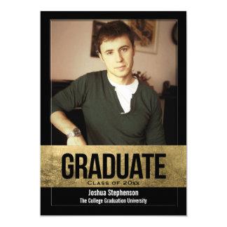Black Cutout Gold Foil Effect Photo Graduation Card