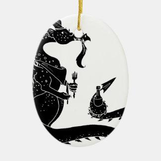 Black Cutout Hungry Dragon Ceramic Ornament