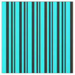 [ Thumbnail: Black & Cyan Colored Stripes Fabric ]