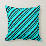 [ Thumbnail: Black & Cyan Colored Stripes Throw Pillow ]