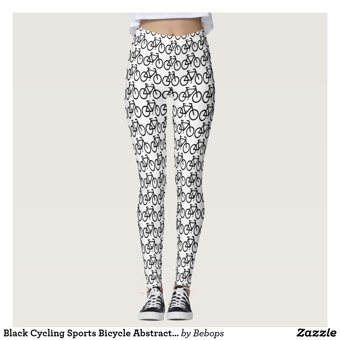 Black Cycling Sports Bicycle Abstract Leggings
