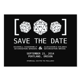 Black D20 Dice Gamer Save the Date Invite