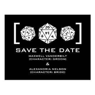 Black D20 Dice Gamer Save the Date Postcard