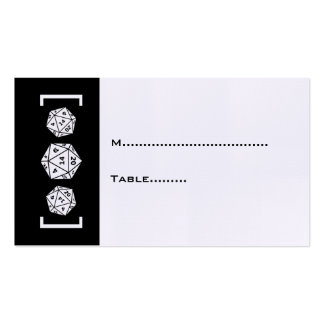 Black D20 Dice Gamer Wedding Place Card Business Cards