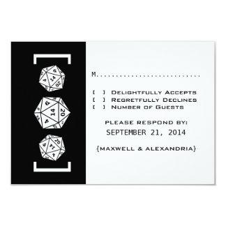 Black D20 Dice Gamer Wedding Response Card Invite