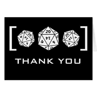 Black D20 Dice Gamer Wedding Thank You Card