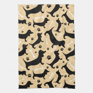 Black dachshund kitchen towels