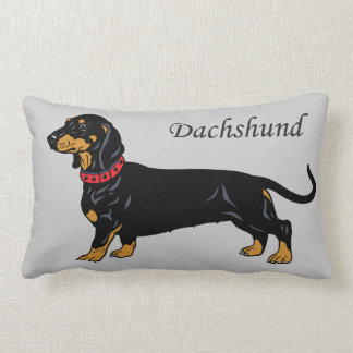 black dachshund lumbar pillow