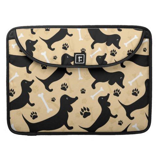 Black dachshund MacBook pro sleeves