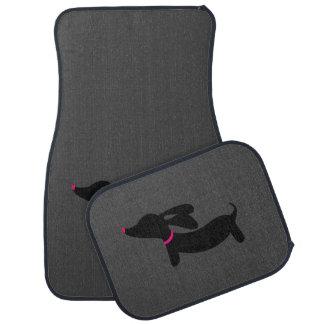 Black Dachshund on Dark Gray Car Floor Mats