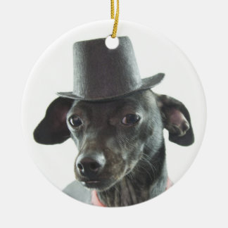 black dachshund wearing a tophat Double-Sided ceramic round christmas ornament