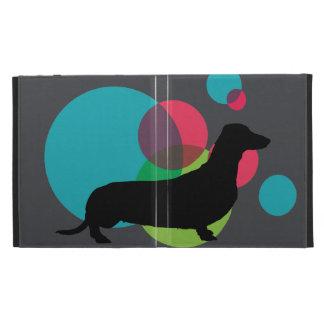Black dachshund with bright dot pattern iPad folio covers