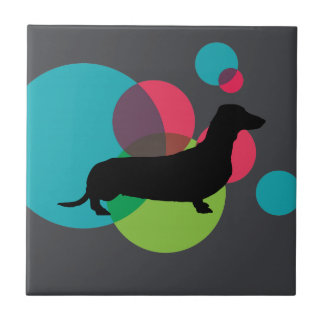 Black dachshund with bright dot pattern ceramic tiles