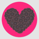 Black Dahlia Heart Round Stickers