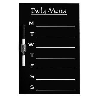 Black Daily Menu Weekly Menu Dry-Erase Board