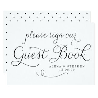 Black Dainty Script Guest Book Wedding Sign Card