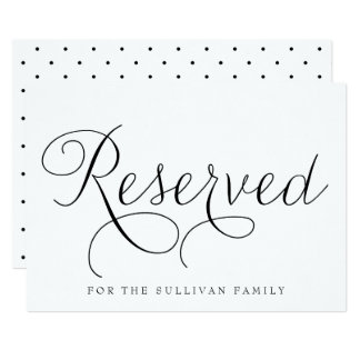 Black Dainty Script Reserved Wedding Sign Card