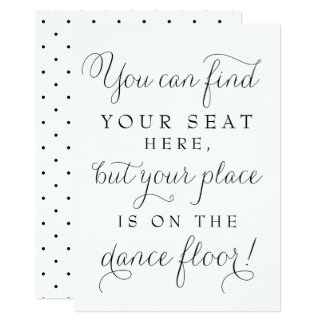 Black Dainty Script Wedding Find Your Seat Sign Card