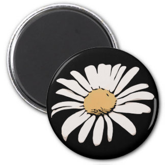 Black Daisy Floral Magnet