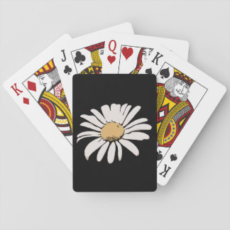 Black Daisy Floral Playing Cards