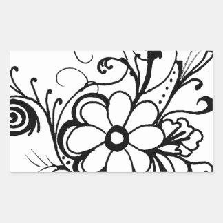 black daisy.png rectangular sticker