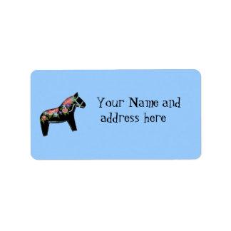 Black Dala Horse Address Label