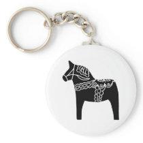 Black Dala Horse Keychain