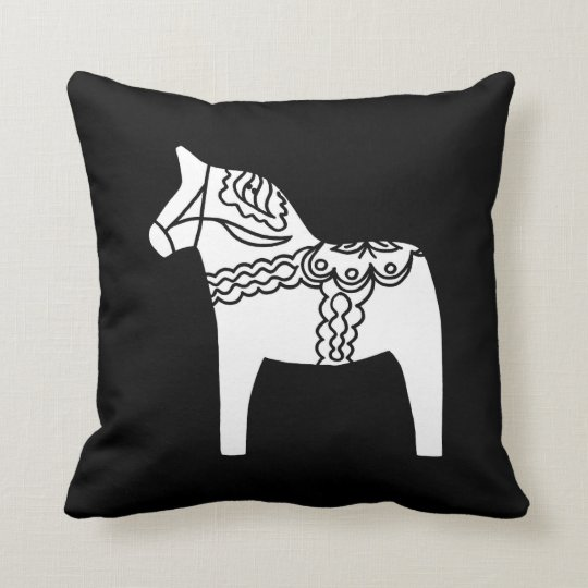 Black Dala Horse Throw Pillow