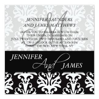 Black Damask 3 Monogram Name Wedding Invitations