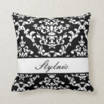 Black Damask #3 @ Stylnic customizable Throw Pillows