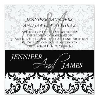 Black Damask 4 Monogram Name Wedding Invitations