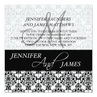 Black Damask 5 Monogram Name Wedding Invitations
