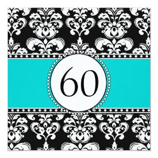 "Black Damask 60th Birthday Invitation | Teal Blue 5.25"" Square Invitation Card"
