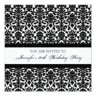 Black Damask 80th Birthday Party Invitations