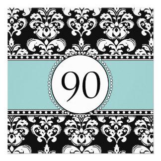 Black Damask 90th Birthday Invitations Blue