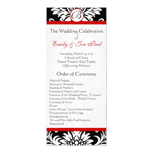 Black Damask 9x4 Red Trim Wedding Program Card