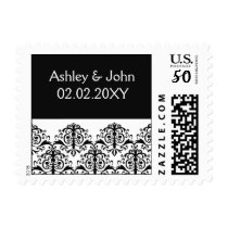 black damask address lable postage