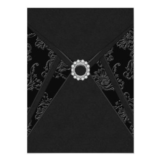 "Black Damask All Occasion Party Invitations 5.5"" X 7.5"" Invitation Card"