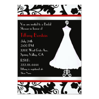 Black Damask and Bridal Gown Bridal Shower 5x7 Paper Invitation Card